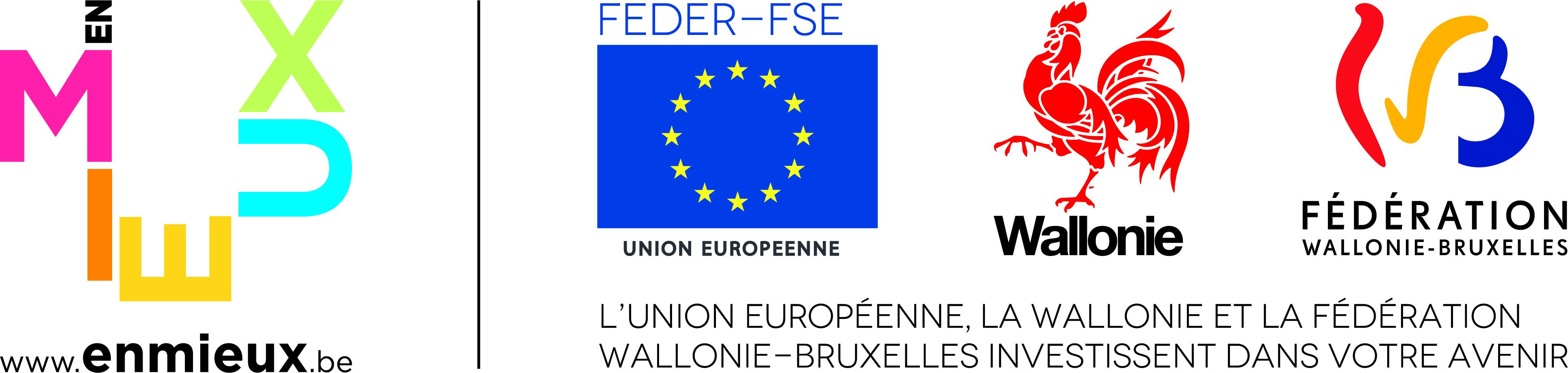 Logo des projets subventionnés par le FEDER, la Wallonie et la FWB
