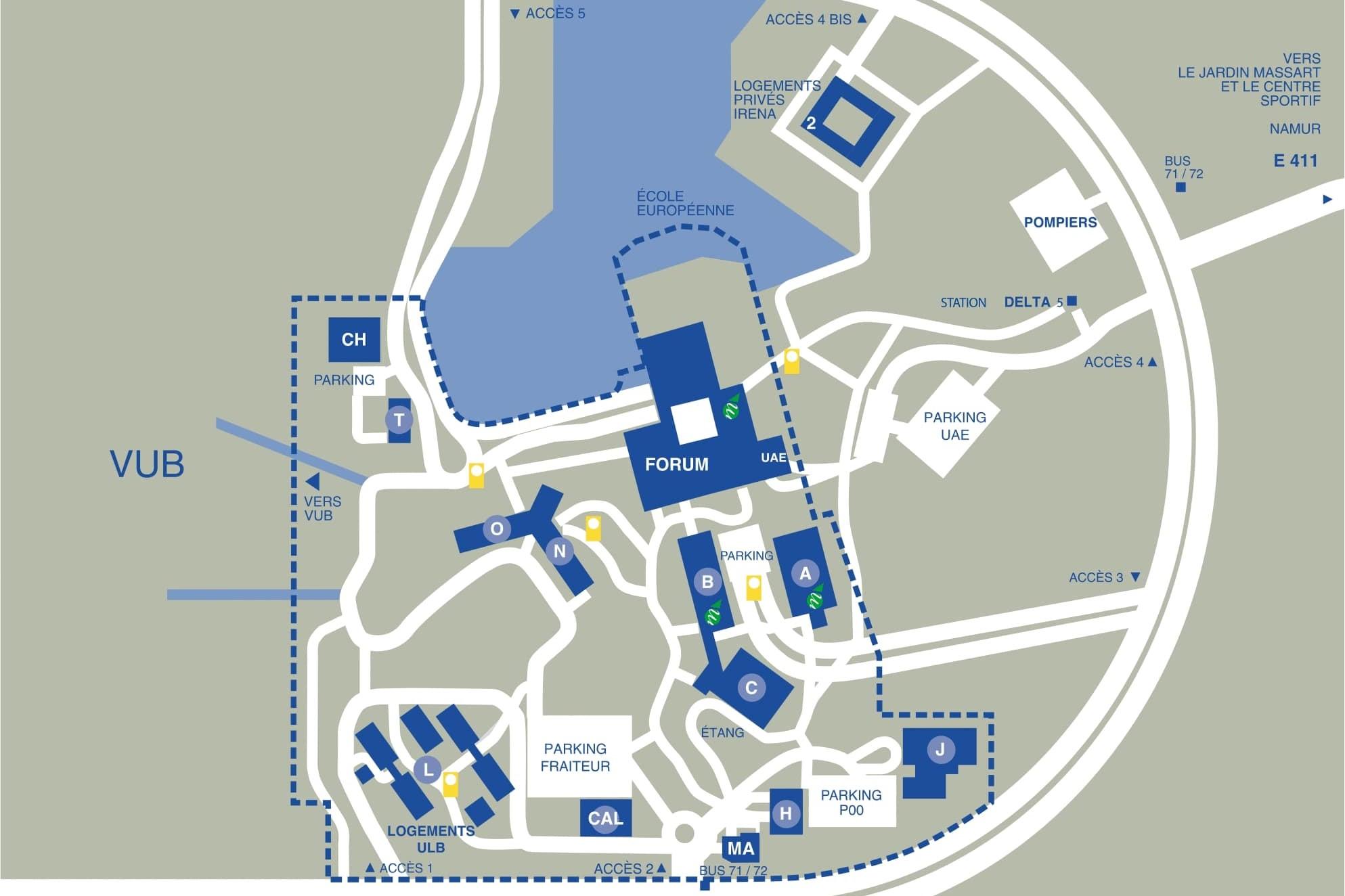 Plan du campus de la Plaine