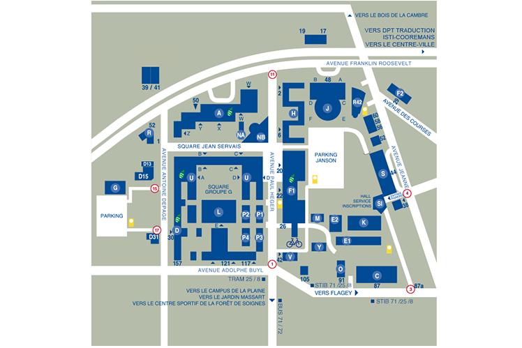 Plan du campus Solbosch